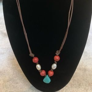 Jewelry - Leather, Pearl, and Turquoise Necklace